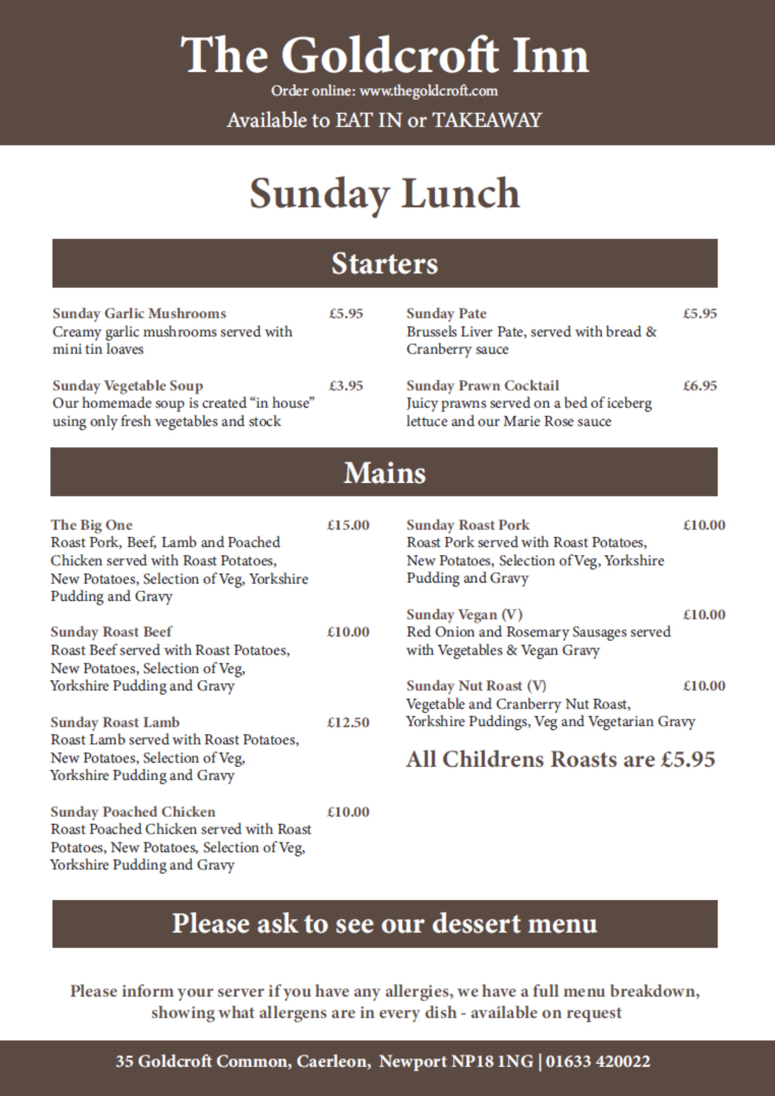 Goldcroft Sunday Lunch