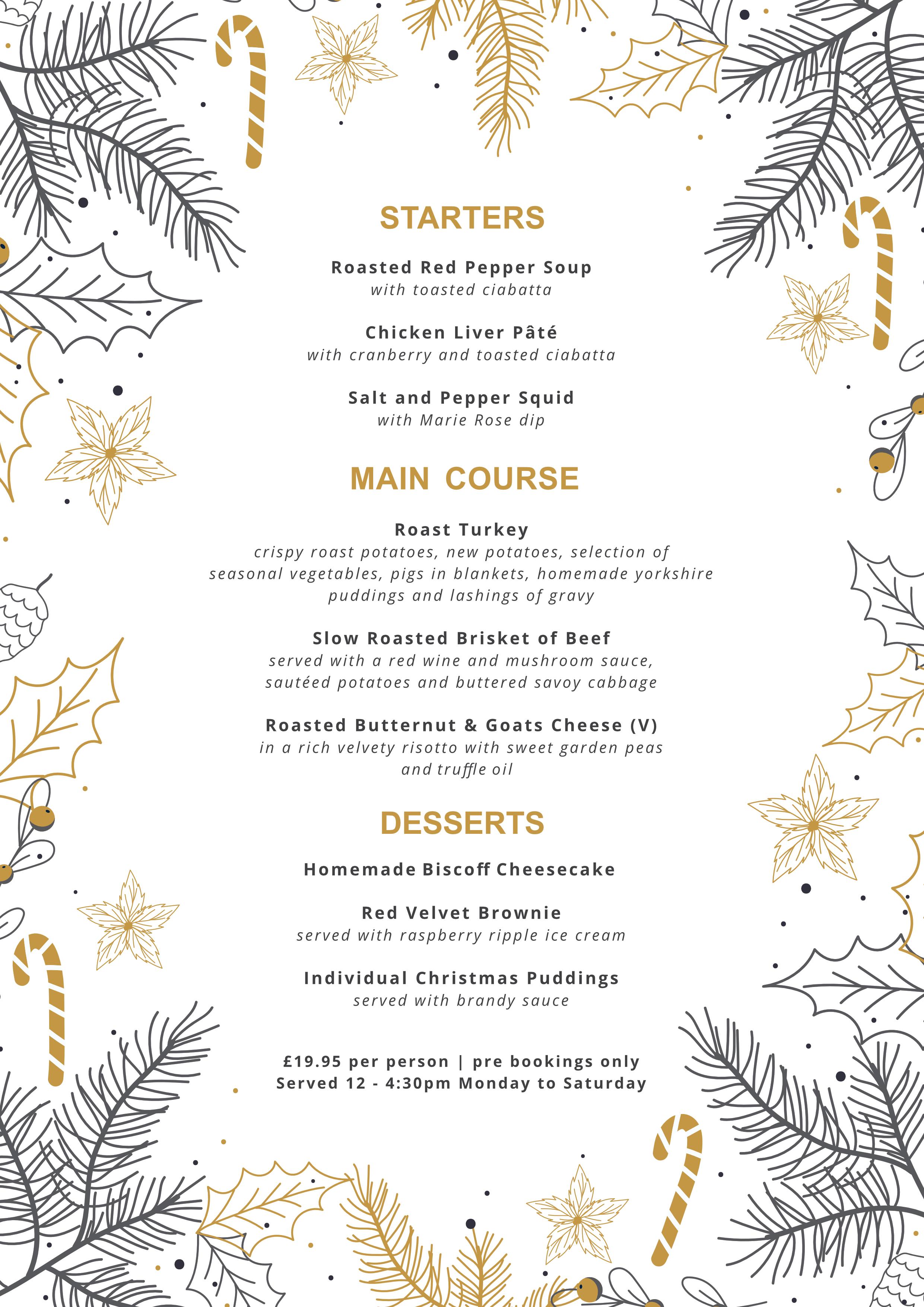 Goldcroft xmas menu