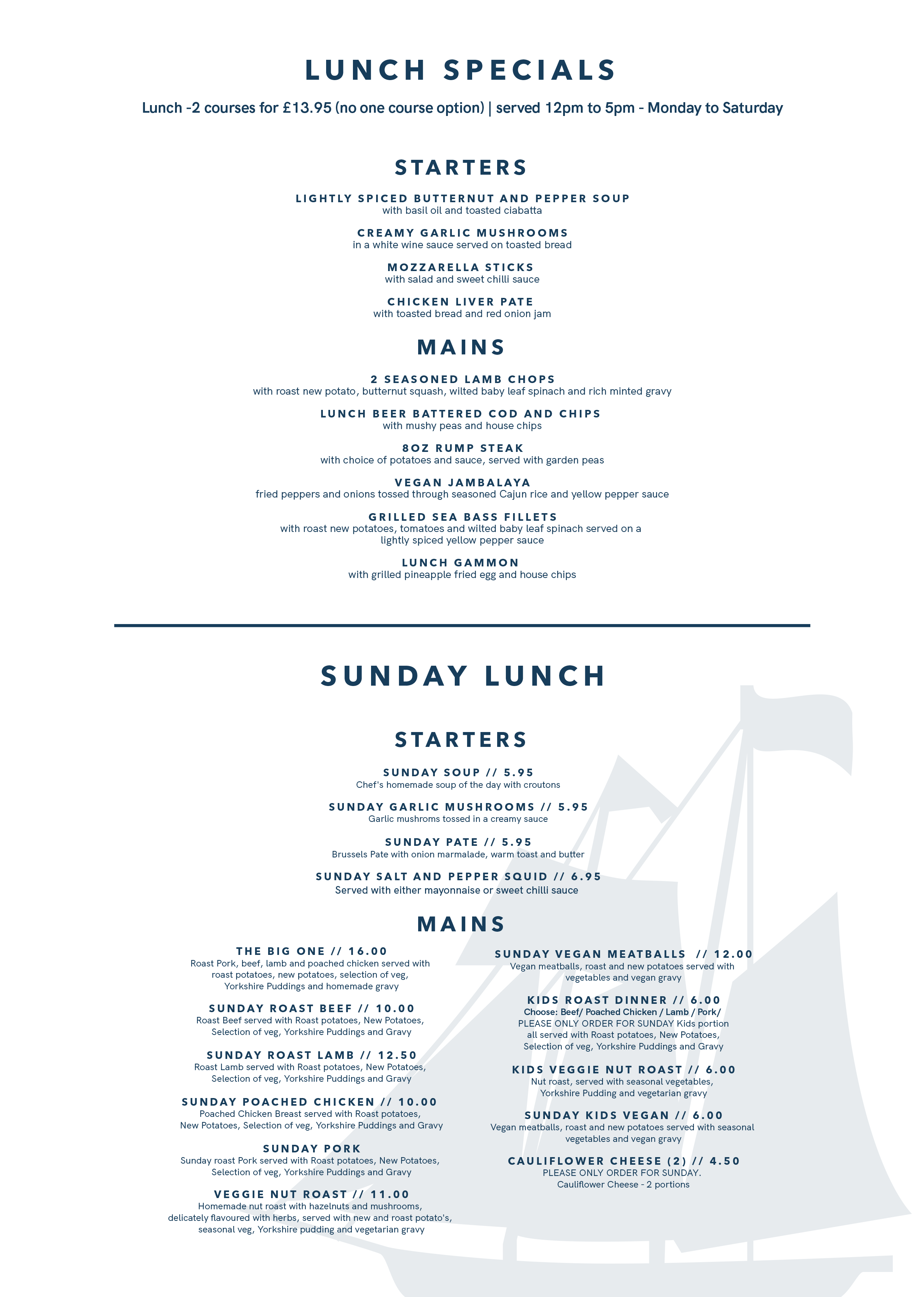Ship Lunch and Sunday Menu