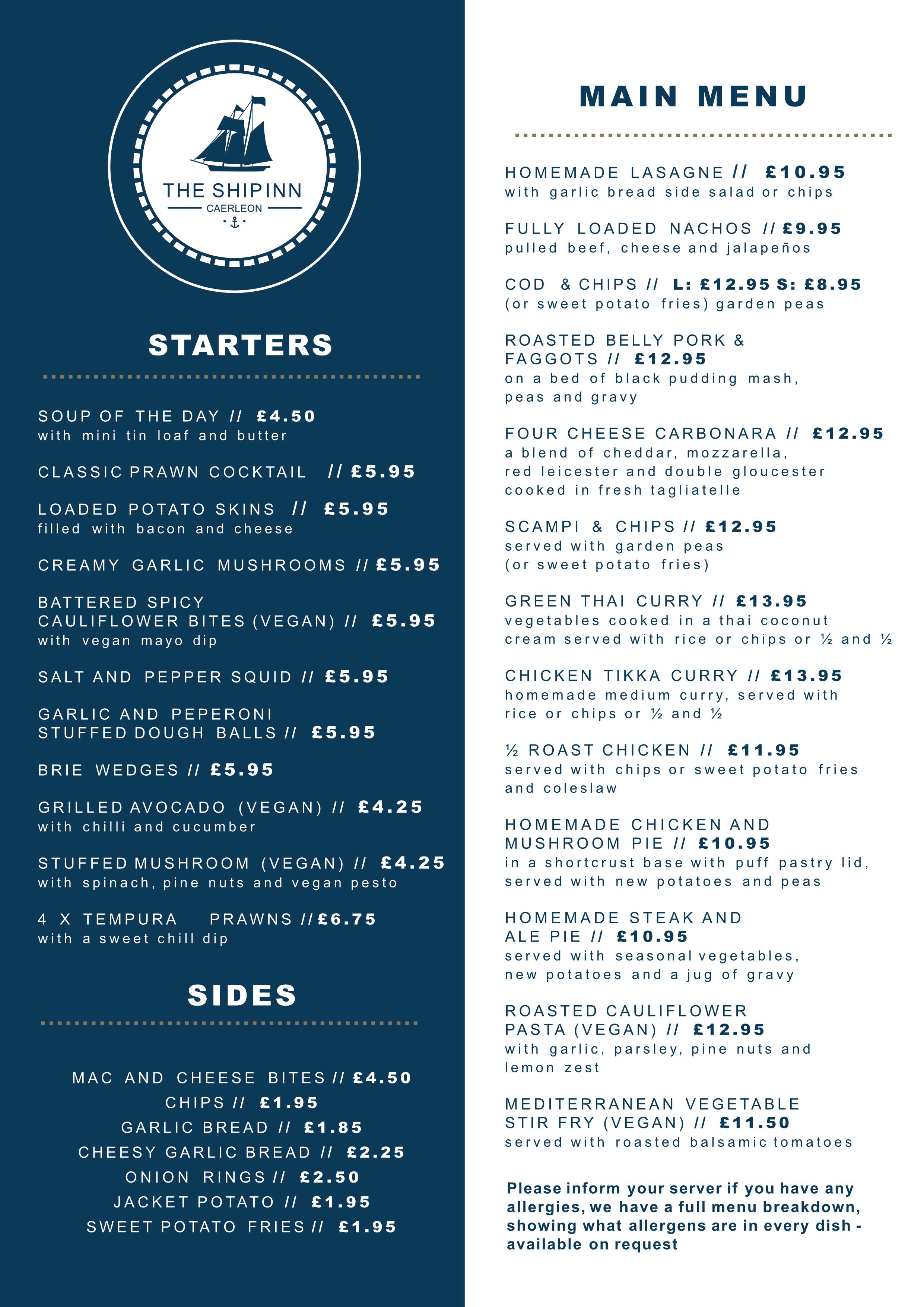 The ship menu Page 1